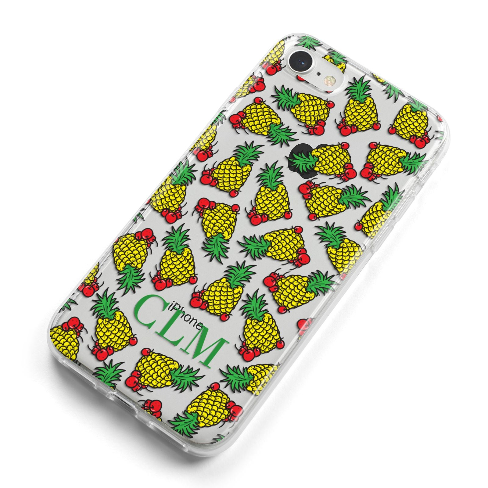 Personalised Pineapple Initials Clear iPhone 8 Bumper Case on Silver iPhone Alternative Image