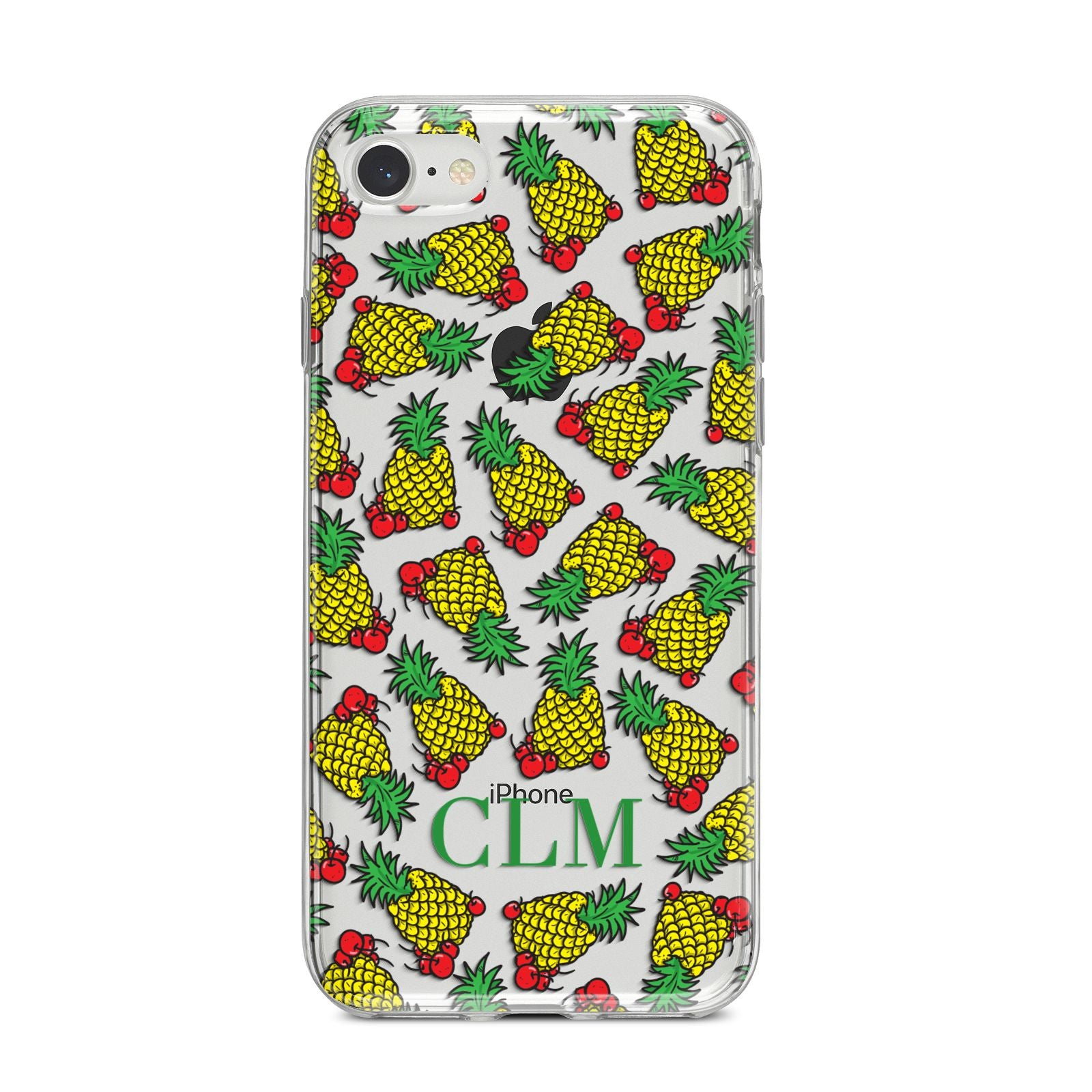 Personalised Pineapple Initials Clear iPhone 8 Bumper Case on Silver iPhone