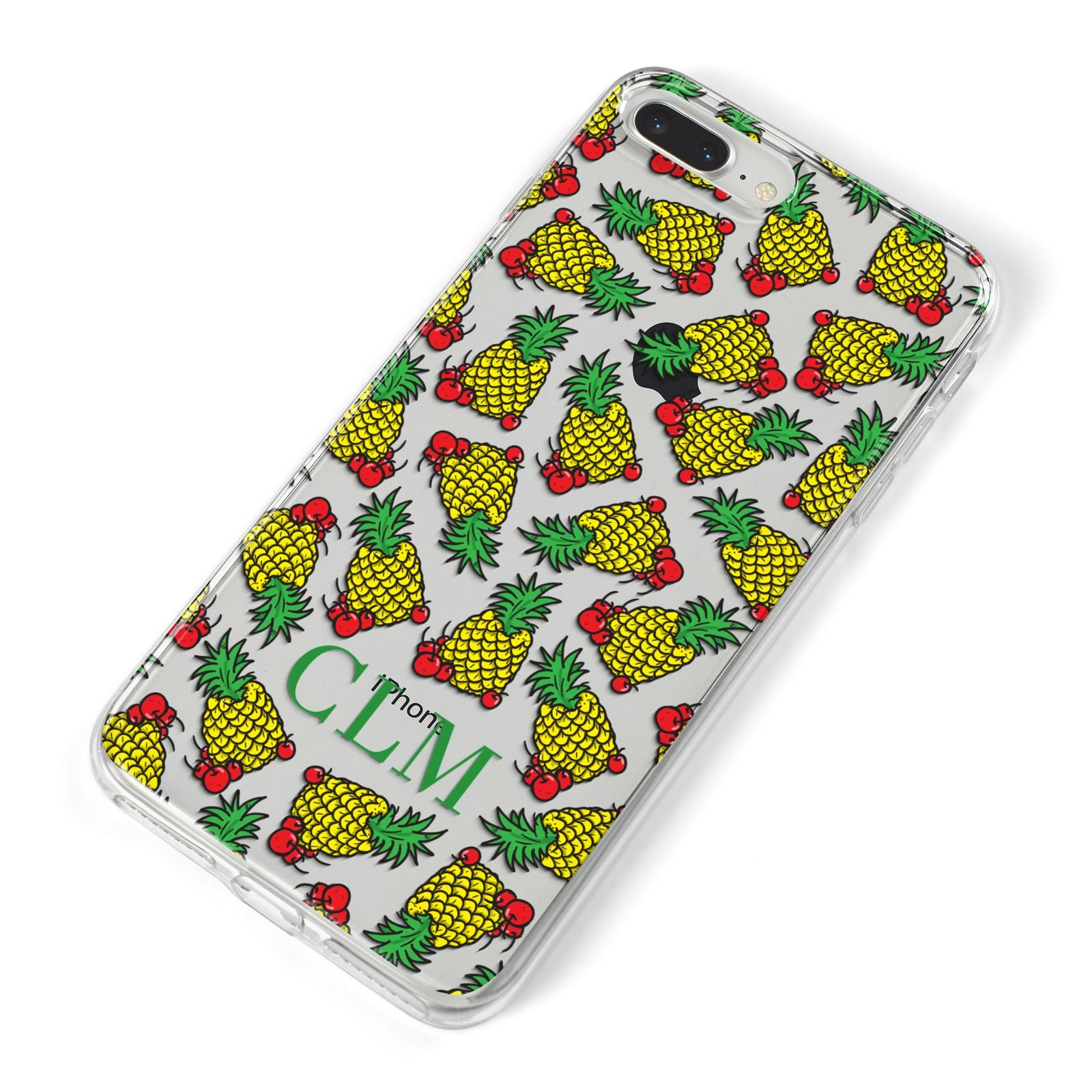 Personalised Pineapple Initials Clear iPhone 8 Plus Bumper Case on Silver iPhone Alternative Image