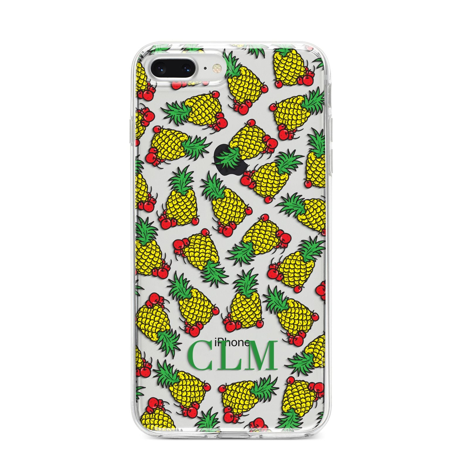 Personalised Pineapple Initials Clear iPhone 8 Plus Bumper Case on Silver iPhone