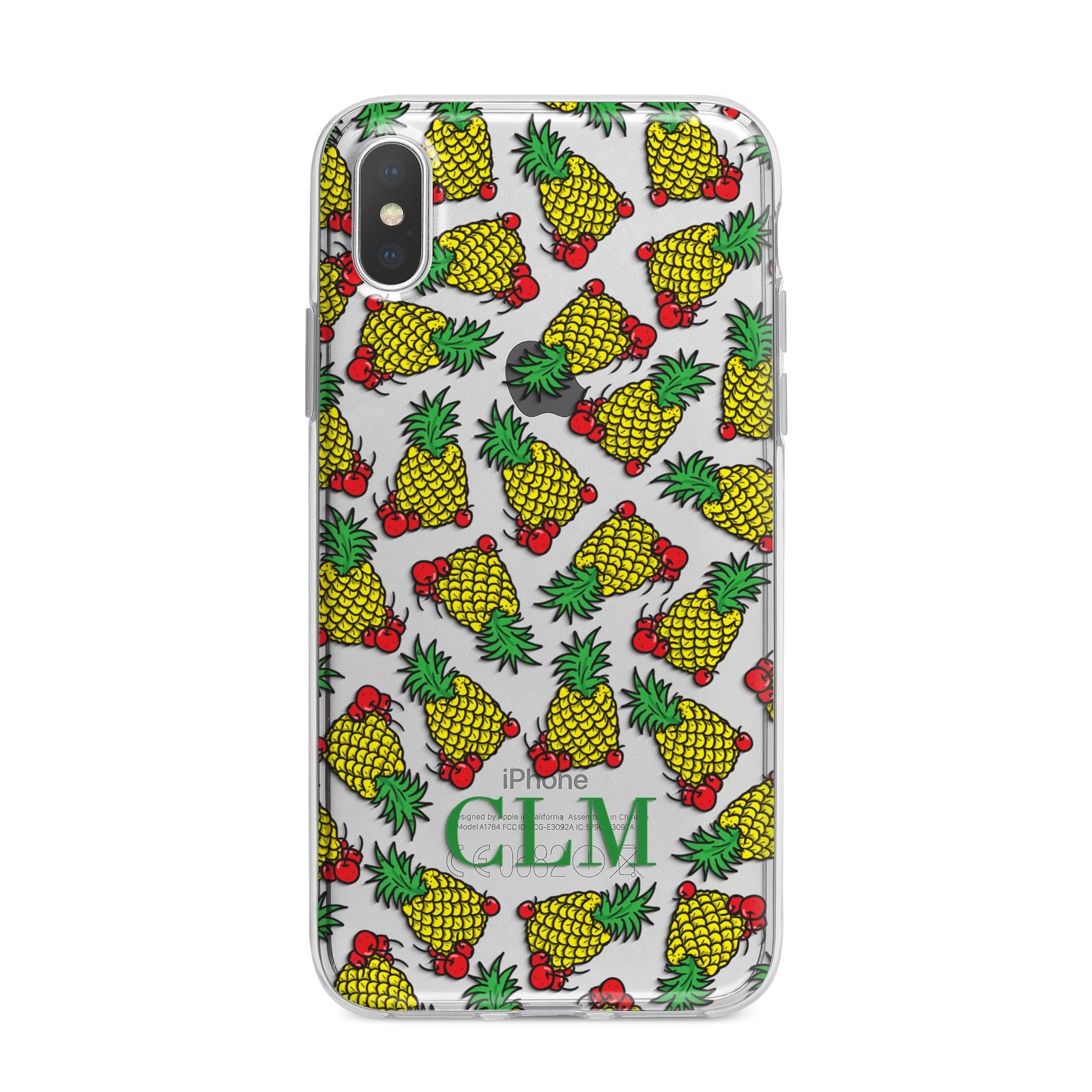 Personalised Pineapple Initials Clear iPhone X Bumper Case on Silver iPhone Alternative Image 1