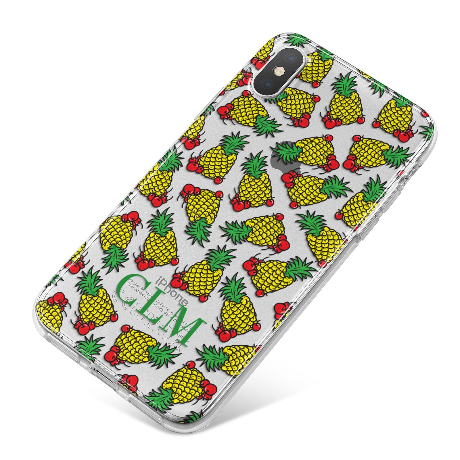 Personalised Pineapple Initials Clear iPhone X Bumper Case on Silver iPhone