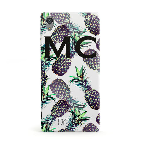 Personalised Pineapple Tropical White Sony Case