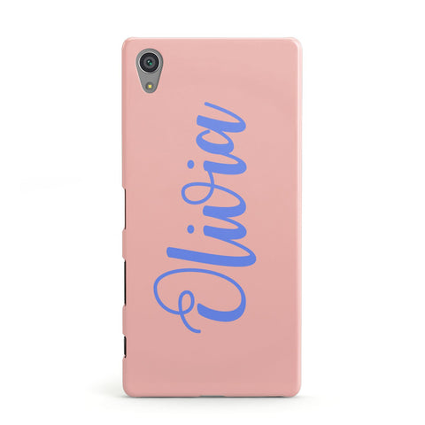 Personalised Pink Blue Name Sony Case