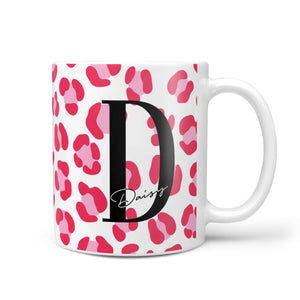 Personalised Pink Clear Leopard Print 10oz Mug