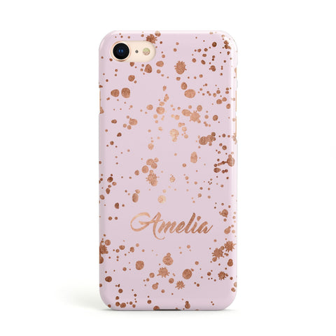 Personalised Pink Copper Splats & Name Apple iPhone Case