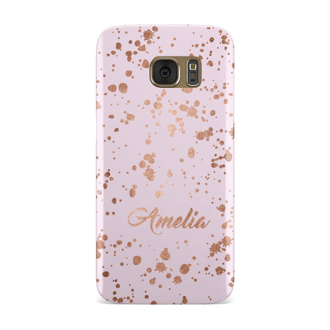 Personalised Pink Copper Splats & Name Samsung Galaxy Case