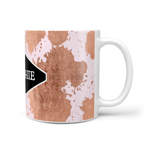 Personalised Pink Copper Splatter & Name Mug