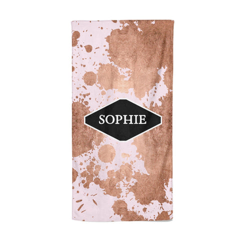 Personalised Pink Copper Splatter & Name Beach Towel