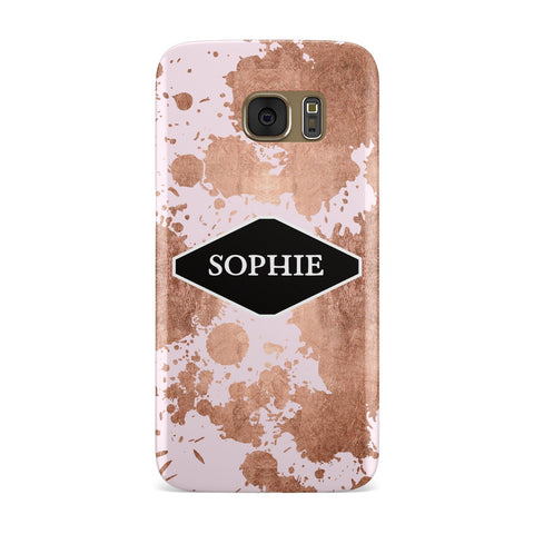 Personalised Pink Copper Splatter & Name Samsung Galaxy Case