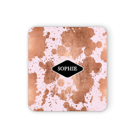 Personalised Pink Copper Splatter & Name Coasters set of 4