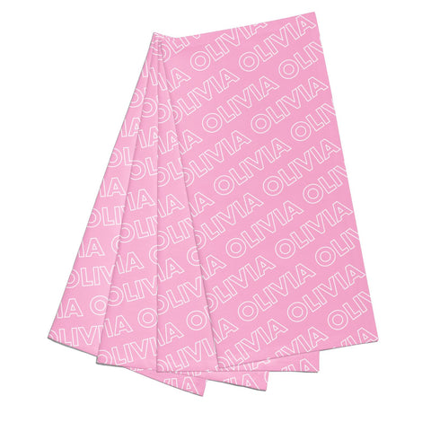 Personalised Pink Diagonal Name Napkins
