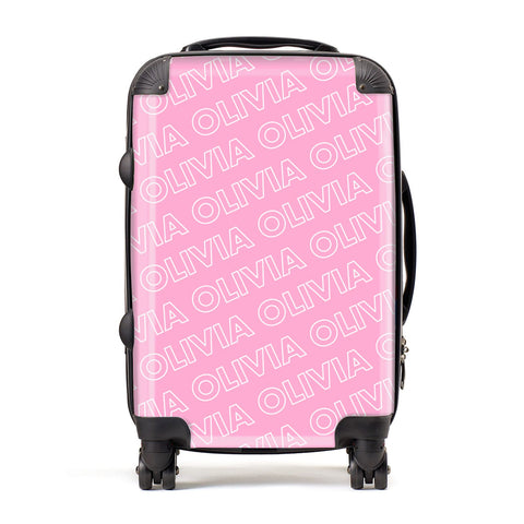 Personalised Pink Diagonal Name Suitcase