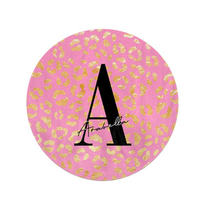 Personalised Pink Gold Leopard Print Round Beach Towel