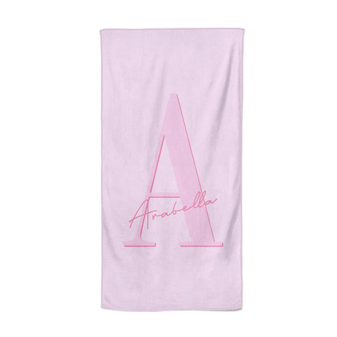 Personalised Pink Initial Beach Towel