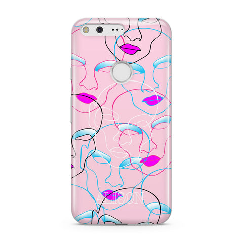 Personalised Pink Line Art Google Case
