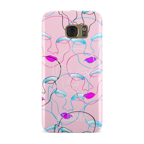 Personalised Pink Line Art Samsung Galaxy Case
