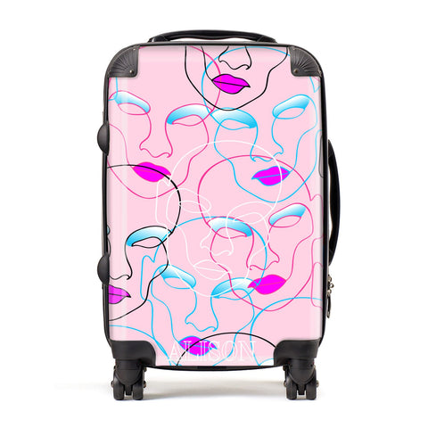Personalised Pink Line Art Suitcase