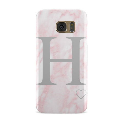 Pink Marble Custom Initials Personalised Samsung Galaxy Case