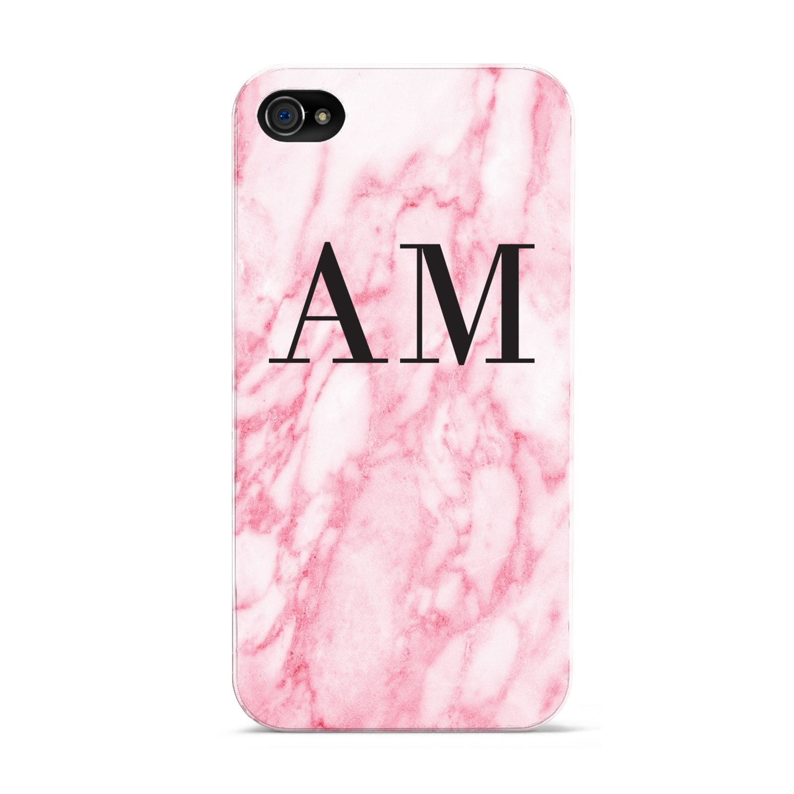 Personalised Pink Marble Monogrammed Apple iPhone 4s Case