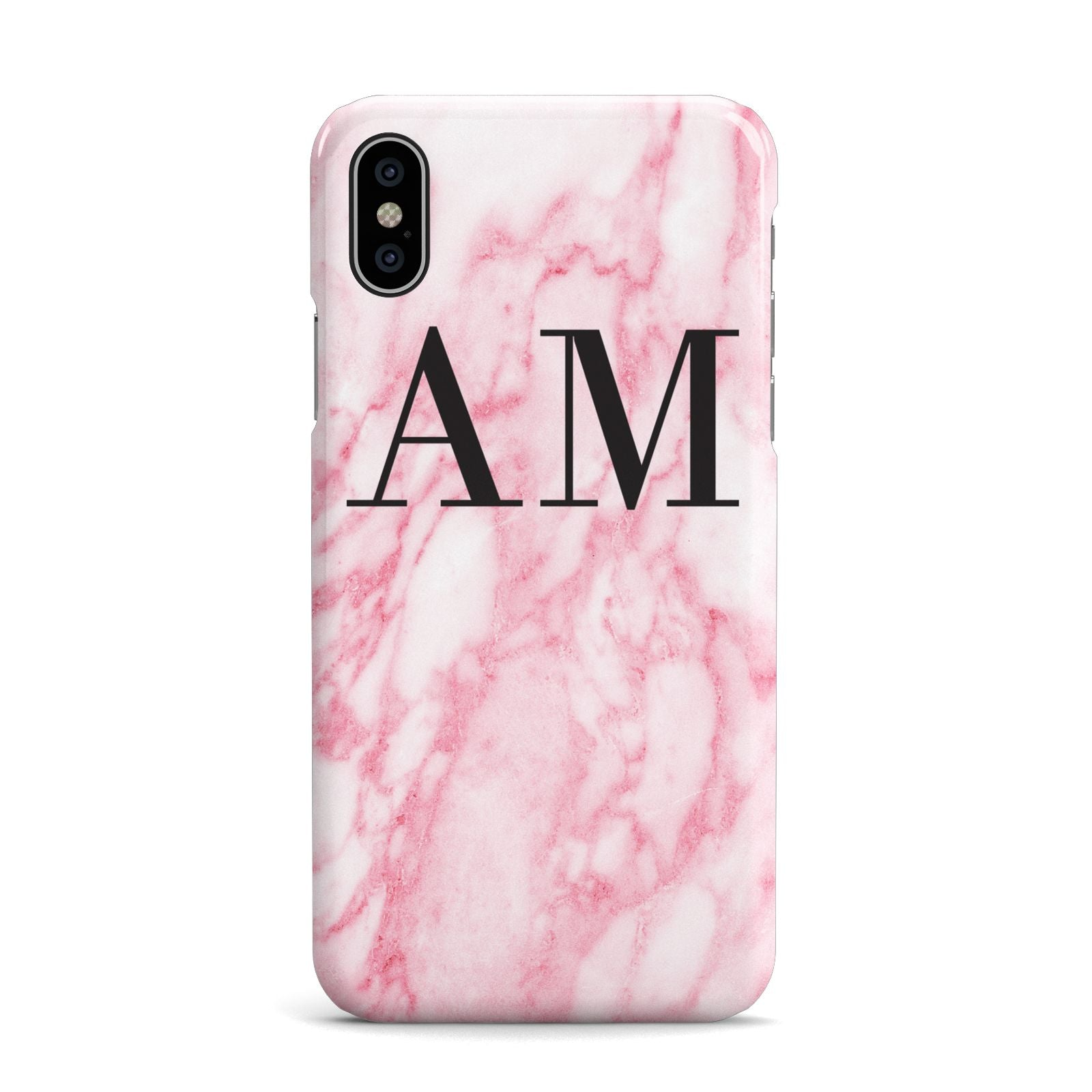 Personalised Pink Marble Monogrammed Apple iPhone X Case