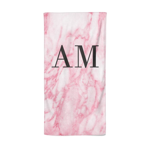 Personalised Pink Marble Monogrammed Beach Towel