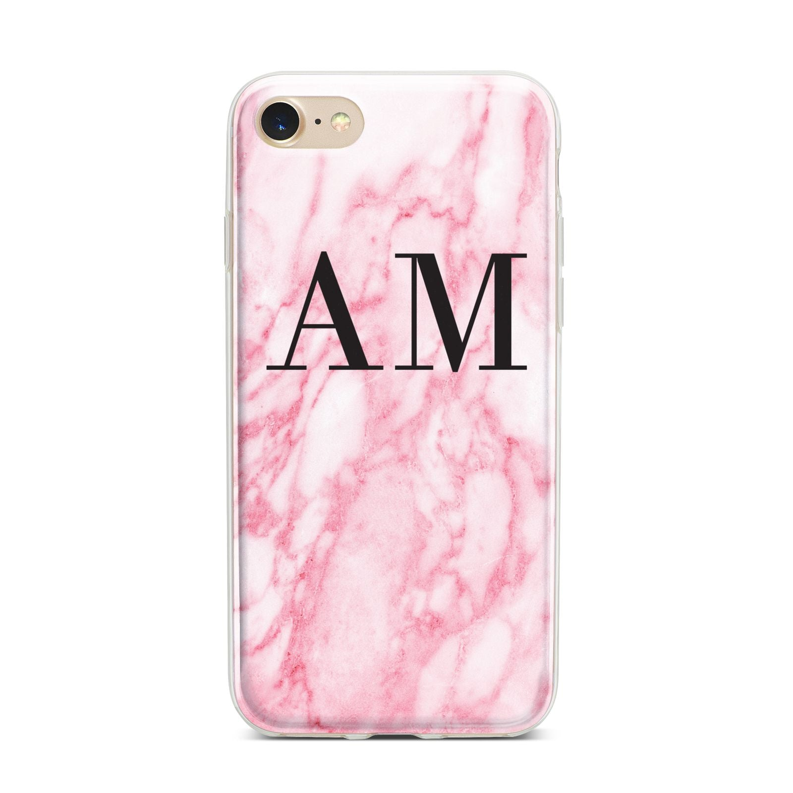 Personalised Pink Marble Monogrammed iPhone 7 Bumper Case on Gold iPhone