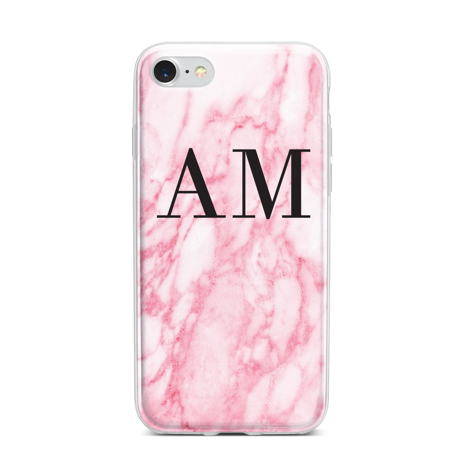 Personalised Pink Marble Monogrammed iPhone 7 Bumper Case on Silver iPhone