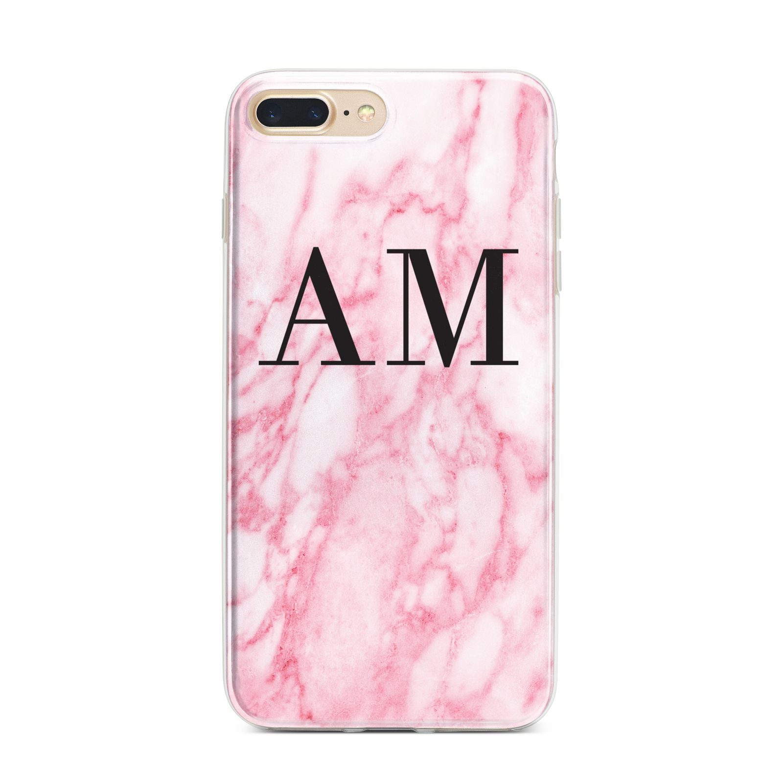 Personalised Pink Marble Monogrammed iPhone 7 Plus Bumper Case on Gold iPhone
