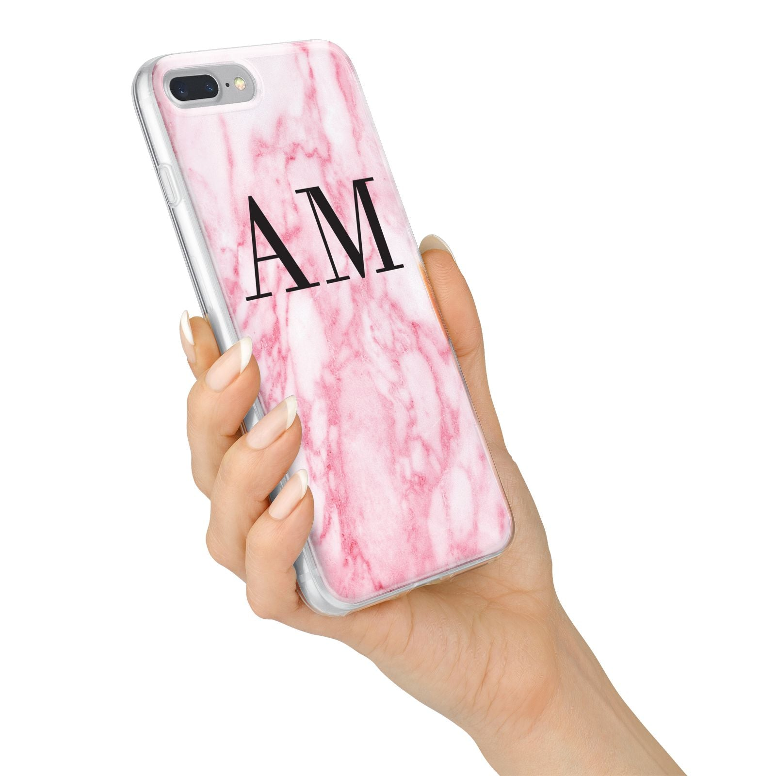 Personalised Pink Marble Monogrammed iPhone 7 Plus Bumper Case on Silver iPhone Alternative Image