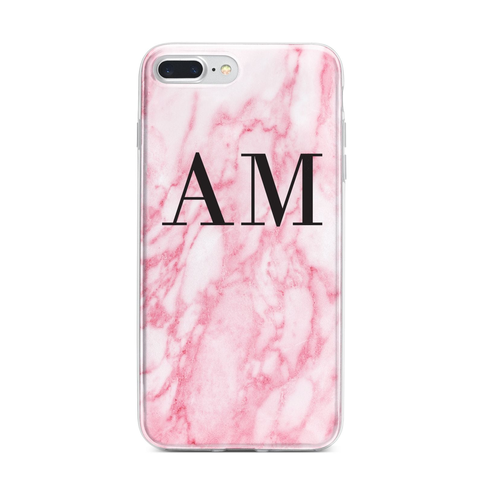 Personalised Pink Marble Monogrammed iPhone 7 Plus Bumper Case on Silver iPhone