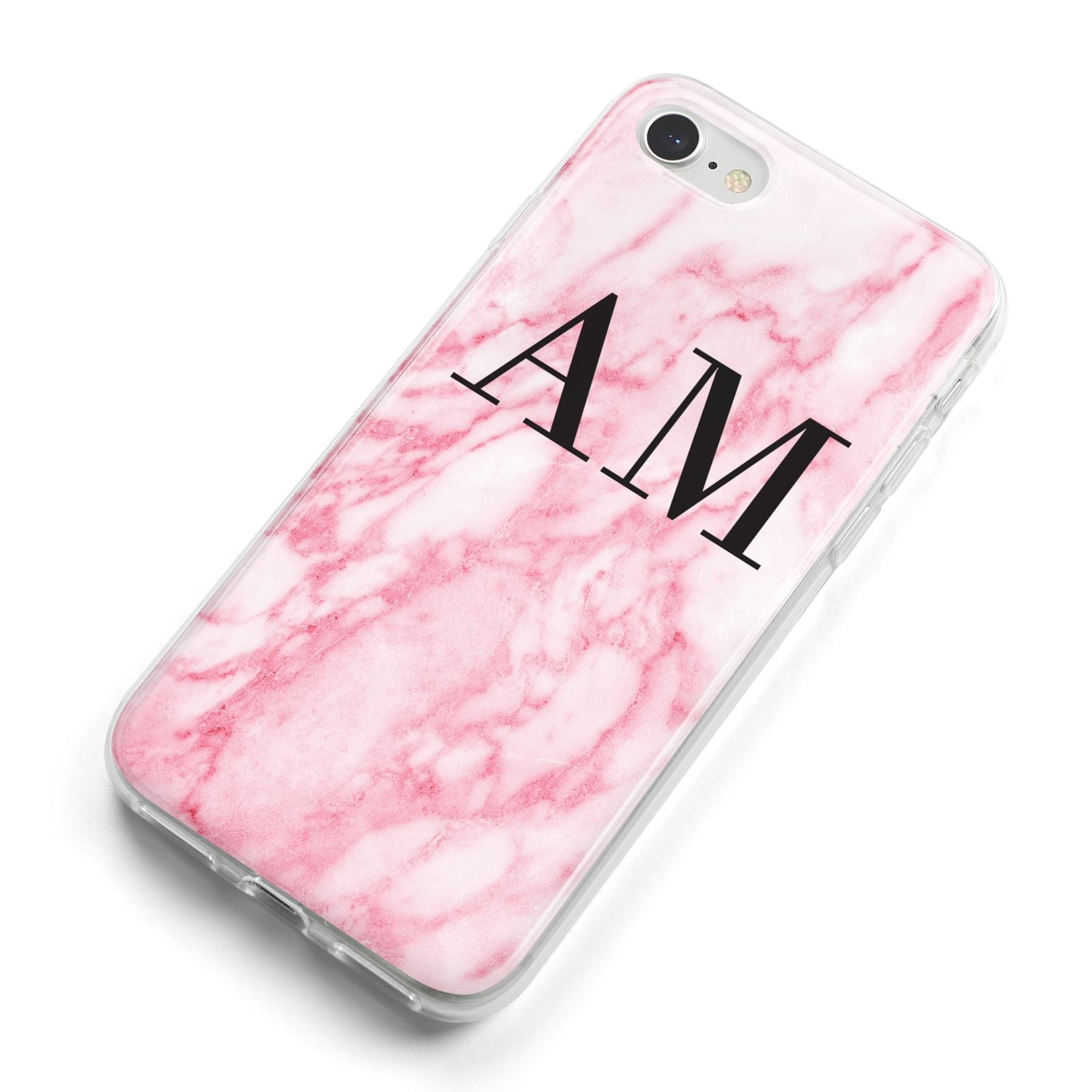 Personalised Pink Marble Monogrammed iPhone 8 Bumper Case on Silver iPhone Alternative Image