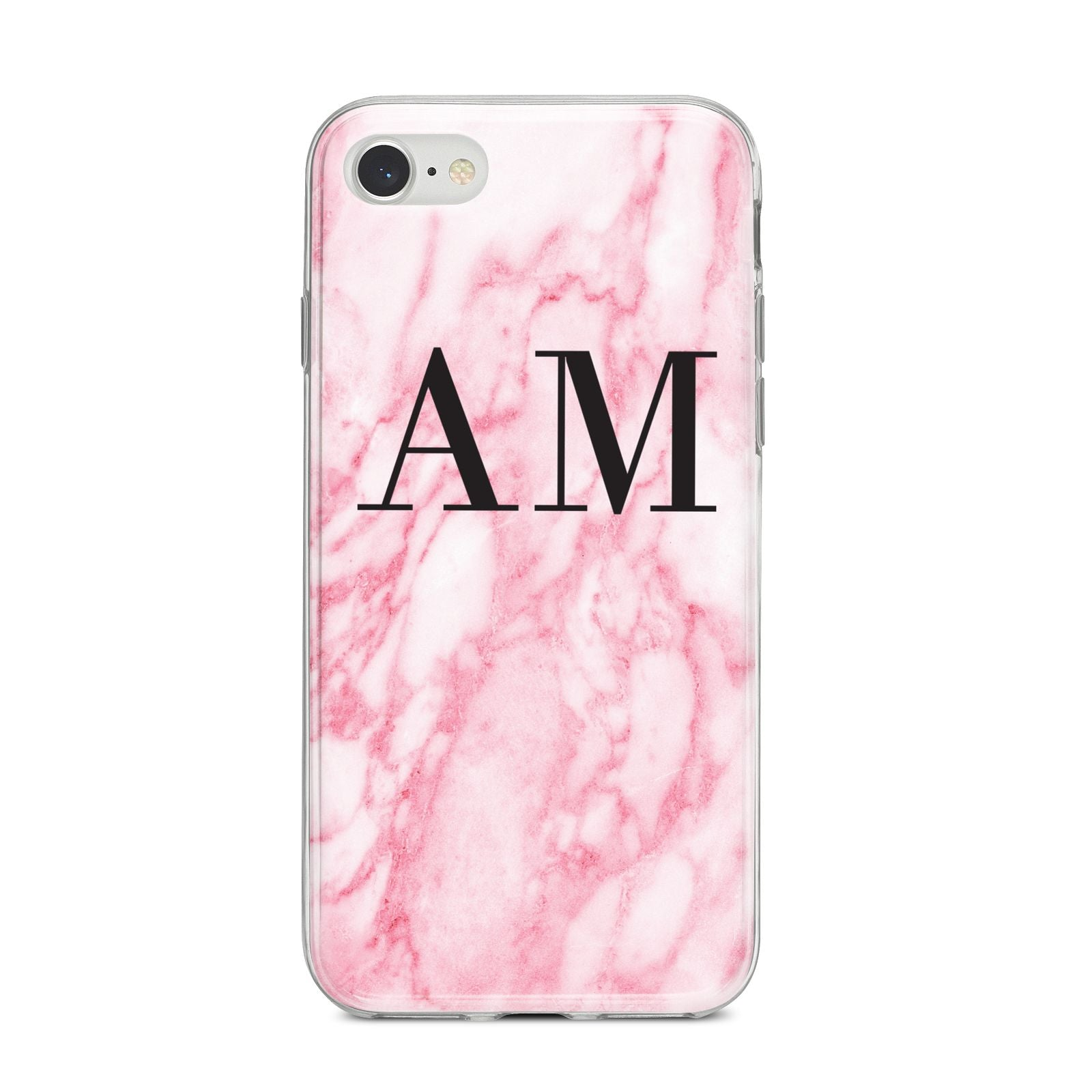 Personalised Pink Marble Monogrammed iPhone 8 Bumper Case on Silver iPhone