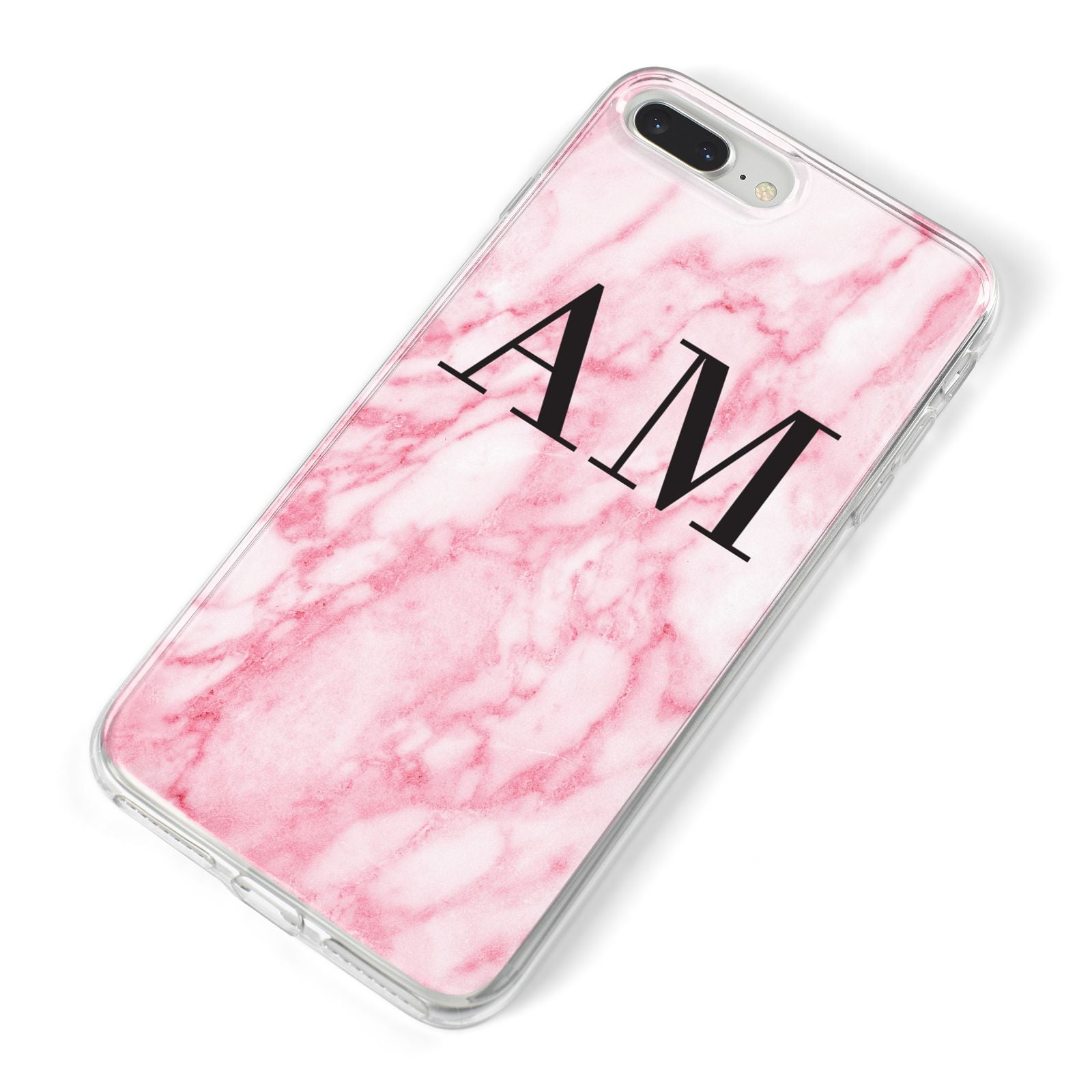 Personalised Pink Marble Monogrammed iPhone 8 Plus Bumper Case on Silver iPhone Alternative Image