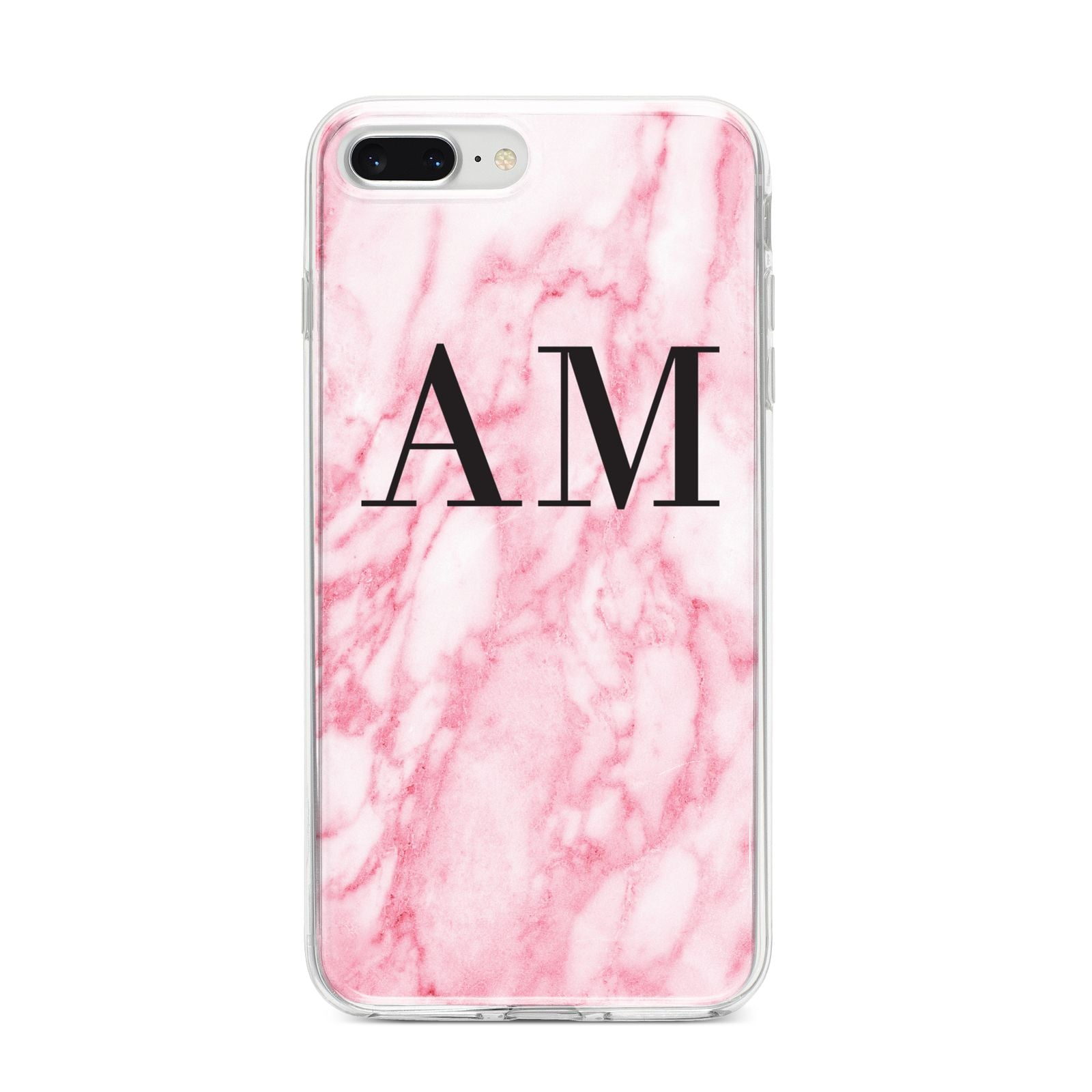 Personalised Pink Marble Monogrammed iPhone 8 Plus Bumper Case on Silver iPhone
