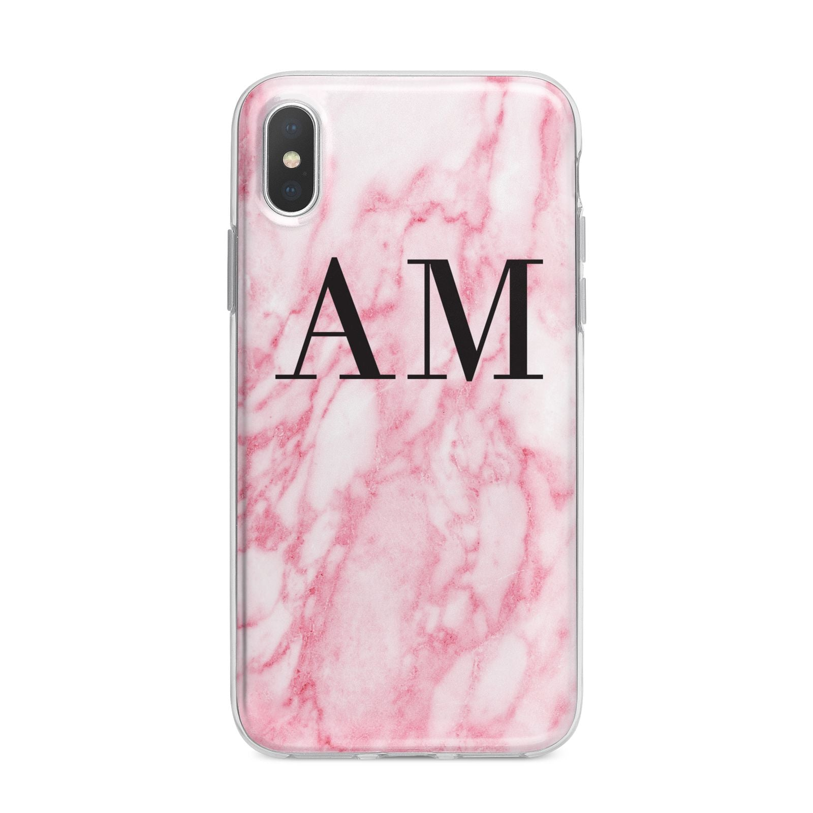 Personalised Pink Marble Monogrammed iPhone X Bumper Case on Silver iPhone Alternative Image 1