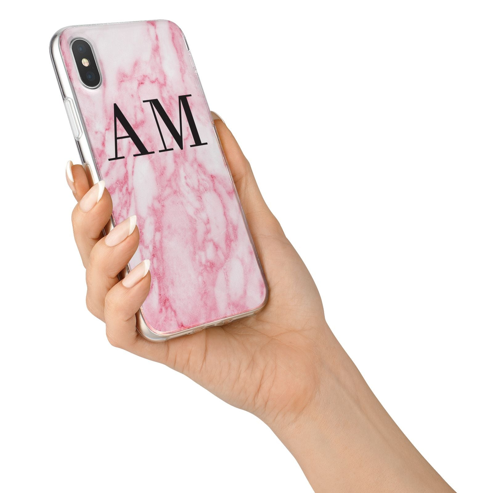 Personalised Pink Marble Monogrammed iPhone X Bumper Case on Silver iPhone Alternative Image 2