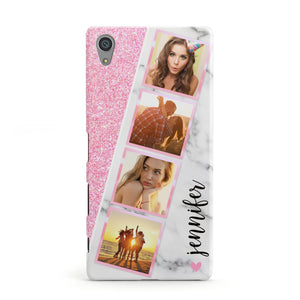 Personalised Pink Marble Photo Strip Sony Xperia Case