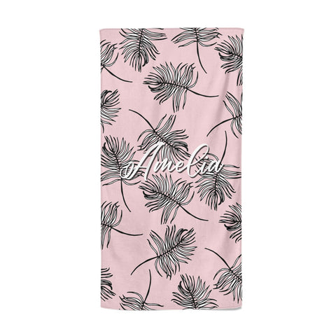 Personalised Pink Monochrome Tropical Leaf Beach Towel
