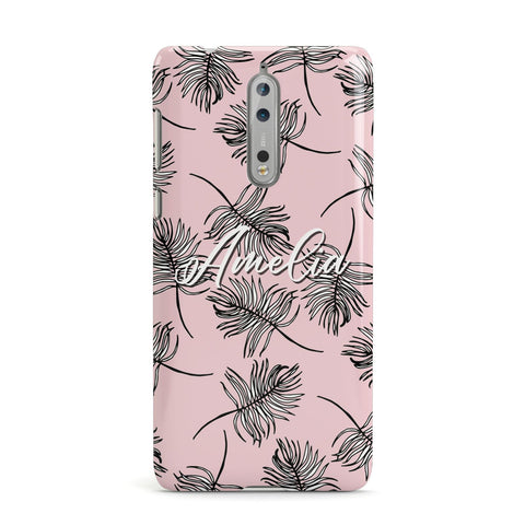 Personalised Pink Monochrome Tropical Leaf Nokia Case