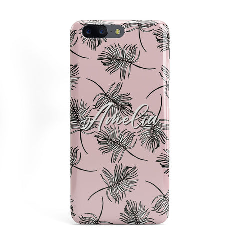 Personalised Pink Monochrome Tropical Leaf OnePlus Case