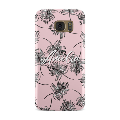 Personalised Pink Monochrome Tropical Leaf Samsung Galaxy Case