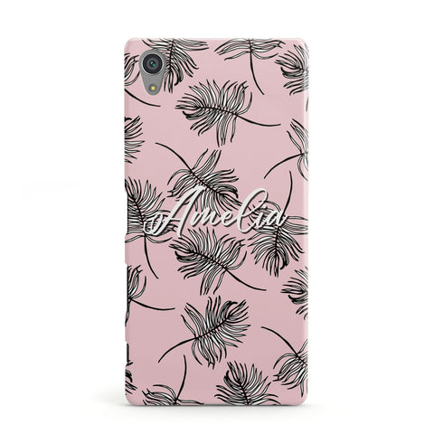Personalised Pink Monochrome Tropical Leaf Sony Case