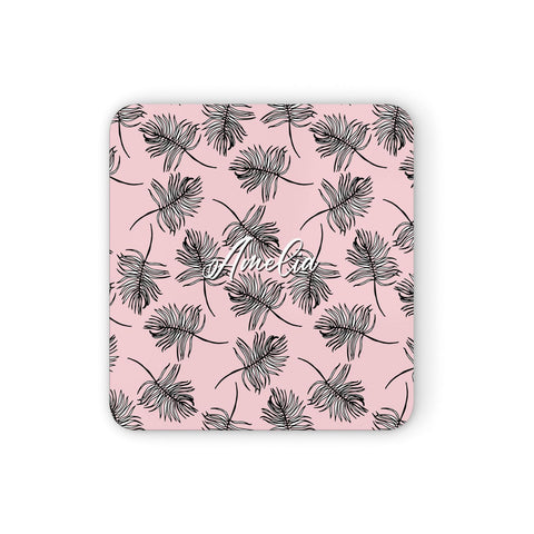Personalised Pink Monochrome Tropical Leaf Coasters set of 4