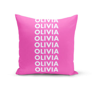 Personalised Pink Names Cotton Cushion