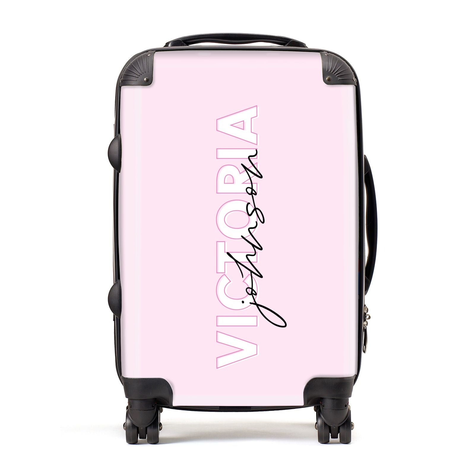 Personalised Pink Outline Name Suitcase