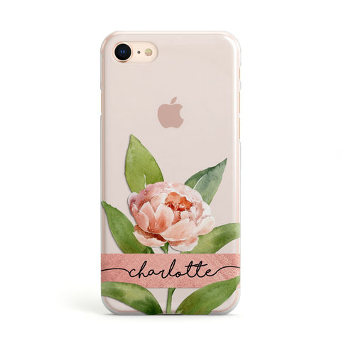 Personalised Pink Peony iPhone Case