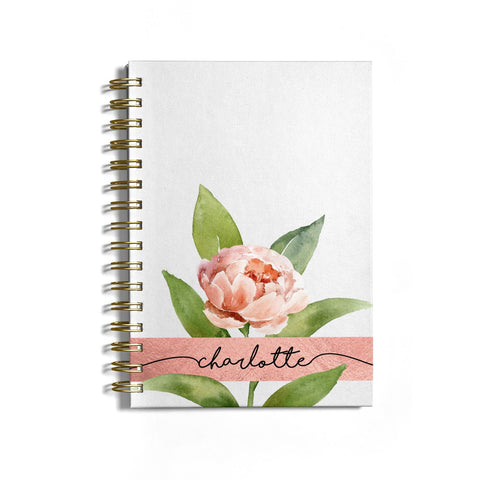 Personalised Pink Peony Notebook