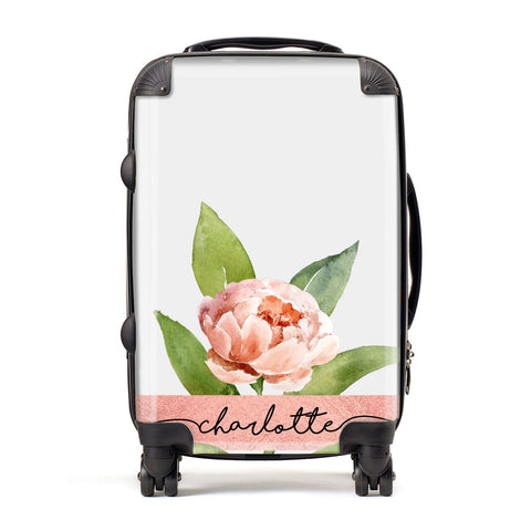 Personalised Pink Peony Suitcase