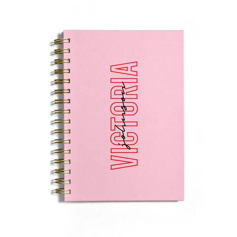 Personalised Pink Red Names Notebook